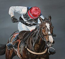 'Final Furlong' racehorse painting by Gina Hawkshaw