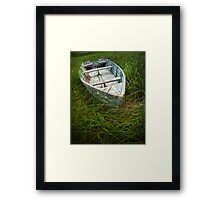 Old Weathered Row Boat abandoned in the Grass on PEI No.032 Framed Print