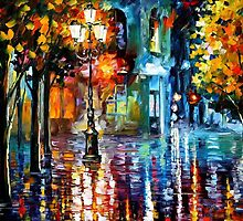 DOWNTOWN LIGHTS- OIL PAINTING BY LEONID AFREMOV by Leonid  Afremov