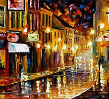 LIGHTS OF THE OLD TOWN - OIL PAINTING BY LEONID AFREMOV by Leonid  Afremov