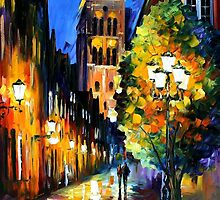 THE LIGHTS OF THE OLD TOWN - OIL PAINTING BY LEONID AFREMOV by Leonid  Afremov