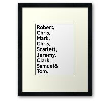 The Avengers Cast Names  Framed Print