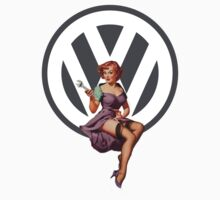Volkswagen Pin-Up Wrenching Wanda (gray) by Sarah Caudle