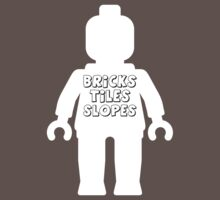 White Minifig with 'Bricks, Tiles, Slopes' Slogan by Customize My Minifig by ChilleeW