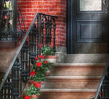 Spring - Porch - Hoboken, NJ - Geraniums on stairs by Mike  Savad