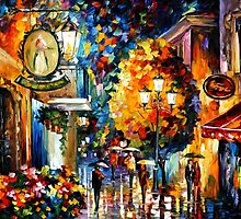 CAFE IN THE OLD CITY - OIL PAINTING BY LEONID AFREMOV by Leonid  Afremov
