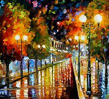 RAINY PERSPECTIVE - OIL PAINTING BY LEONID AFREMOV by Leonid  Afremov