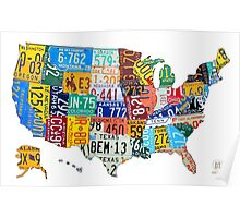 License Plate Map of The United States 2012 Edition 3 on White Poster