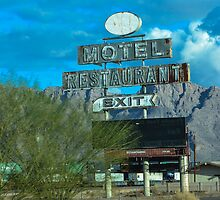 Motel Restaurant Exit Old Beat up Sign by msqrd2
