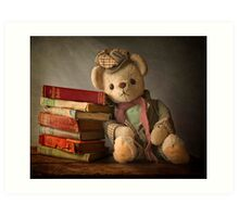 Teddy with Books Art Print