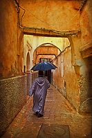 Morocco. Fes. Medina. Walking in the rain. by vadim19