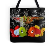 Two Toy Fish Kissing Tote Bag