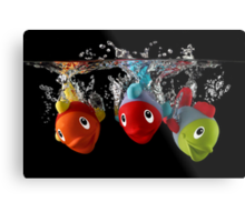 Three Toy Fish With Splash Metal Print