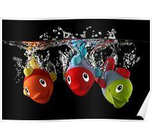 Three Toy Fish With Splash Poster