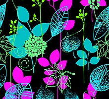Foliage Fuschia & Teal [iPhone / iPod Case and Print] by Damienne Bingham