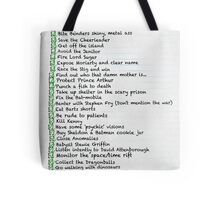 My busy T.V 'to do' list Tote Bag