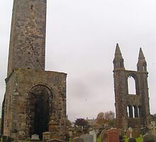 St. Andrews Cathedral Ruins, with St. Rule's Tower, Scotland. by LBMcNicoll