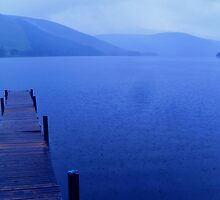 Rain on St. Mary's Loch, Selkirkshire.  Scotland. by LBMcNicoll