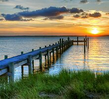 Sun Setting Over Chincoteague Island by Monte Morton