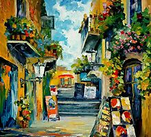GREEN BALCONIES - OIL PAINTING BY LEONID AFREMOV by Leonid  Afremov