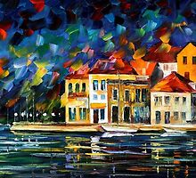 TOWN MARINA - OIL PAINTING BY LEONID AFREMOV by Leonid  Afremov