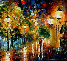 RAINY ROMANCE - OIL PAINTING BY LEONID AFREMOV by Leonid  Afremov