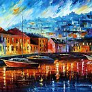 BLUE HARBOR - OIL PAINTING BY LEONID AFREMOV by Leonid  Afremov