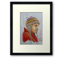 Tales of a lucky hat, watercolor and mixed media on paper Framed Print