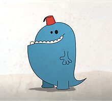 Big Blue Monster with a Fez by Paul Mitchell