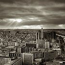 Sun Rays Over Paris - HDR Black &amp; White by dhwee