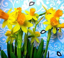 Daffodils with Blue and Birds  by CrystalFanning