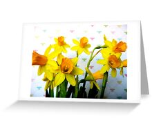 Daffodils with Colorful Bees Greeting Card