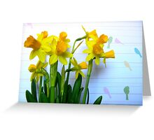 Daffodils with Birds on a Wire Greeting Card
