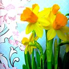 Daffodils with Blue and Flowers by CrystalFanning