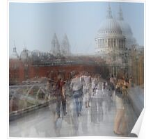 Millenium Bridge in Motion, London Poster
