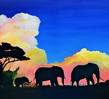 Elephants At Dusk by Mike Paget
