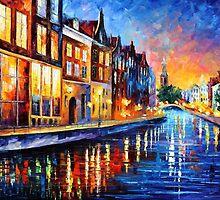 AMSTERDAM - SUNDAY NIGHT - OIL PAINTING BY LEONID AFREMOV by Leonid  Afremov