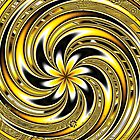 Spiraling Yellow and Black Flowers by Beatriz  Cruz