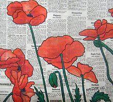 Newspaper Poppies II by Alexandra Felgate