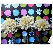 White Puffs and Colorful Dots Poster