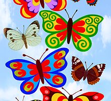 8 BUTTERFLY'S - BRUSH AND GOUACHE by RainbowArt