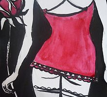 Red Rose, Red Dress on Black by Anthea  Slade