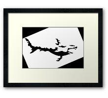 Fire Shark Black and White Silhoutte Framed Print
