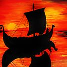 Viking Longboat Sunset by TheCroc1979