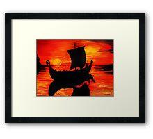 Viking Longboat Sunset Framed Print