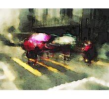 Umbrellas at the crossing III Photographic Print