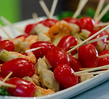 Shrimp-tomato and-artichoke skewers  by msqrd2