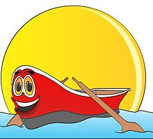Red Row Boat Cartoon by Graphxpro