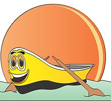 Yellow Row Boat Cartoon by Graphxpro