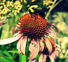 Big Bee Small Flower(Light) by CrystalFanning